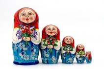 Матрешка 5 мест «Мордашки», художник Веселова С. (MM-2)