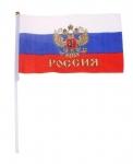 Флаг с золотым гербом со штоком 14*21 см