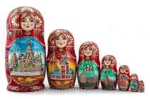 Матрешка «Москва» 7 мест, художник Чистякова (Арт. MF-7-03)