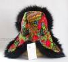 Женская шапка-ушанка из павловопосадского платка