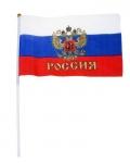 Флаг с золотым гербом со штоком 20*28 см